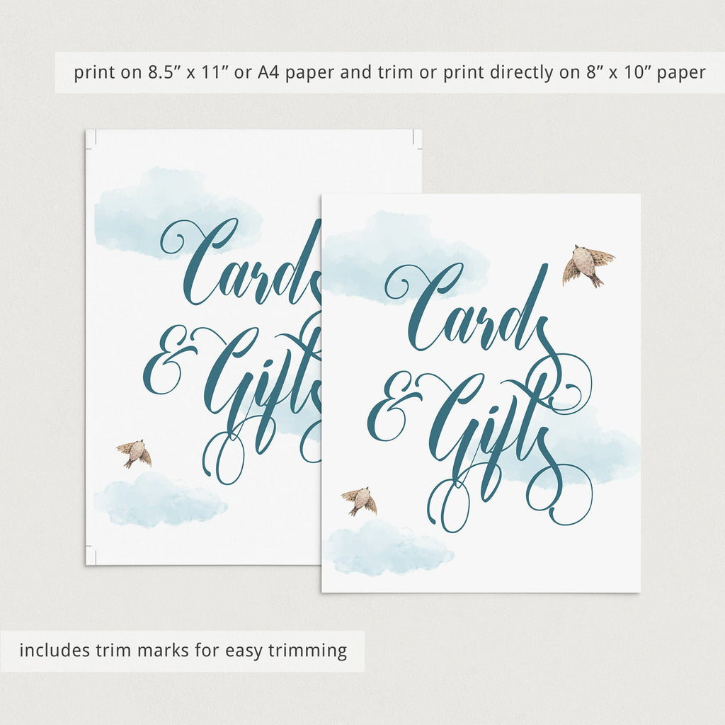 Instant download cards and gifts sign for blue themed shower by LittleSizzle