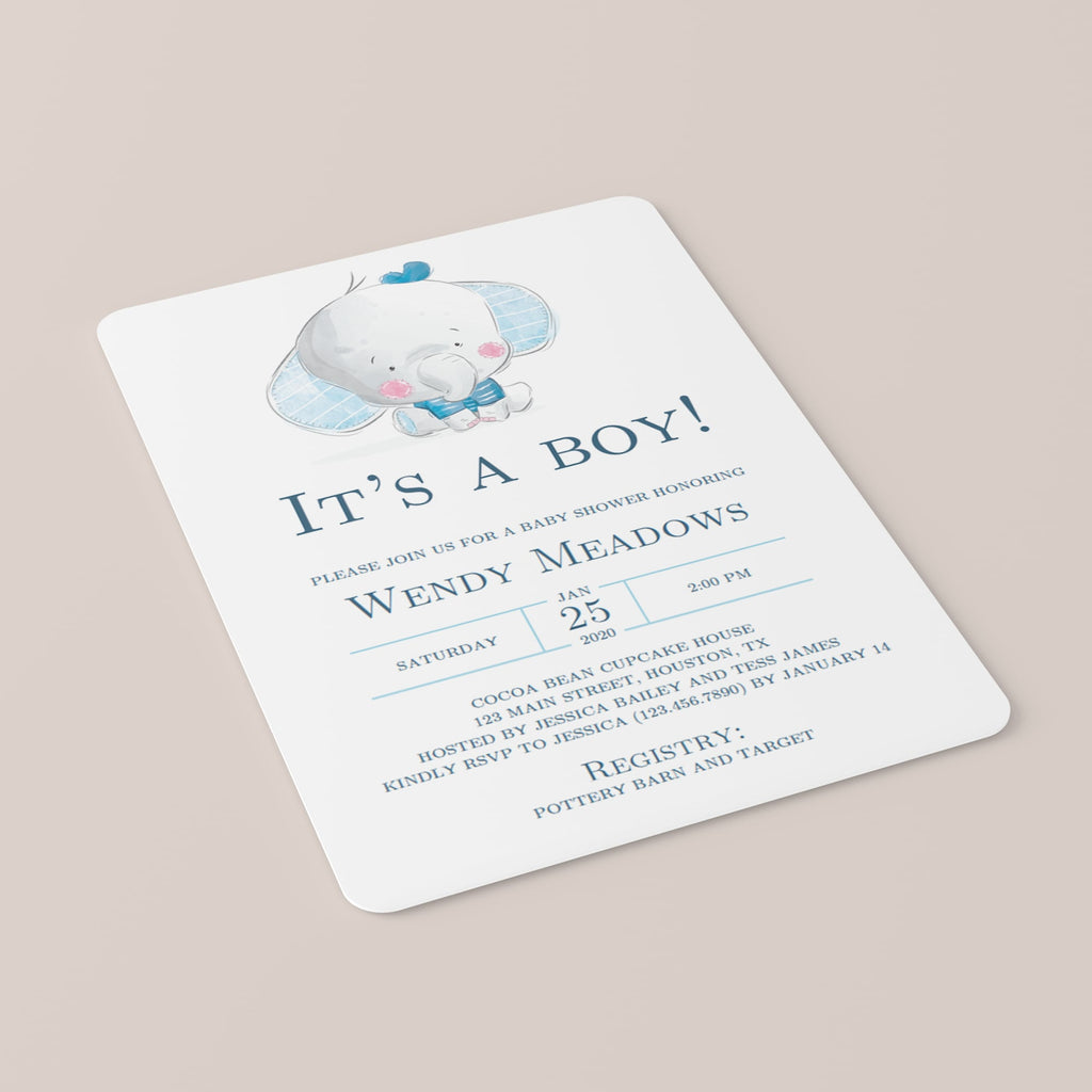 Elephant baby shower invitation for boy by LittleSizzle