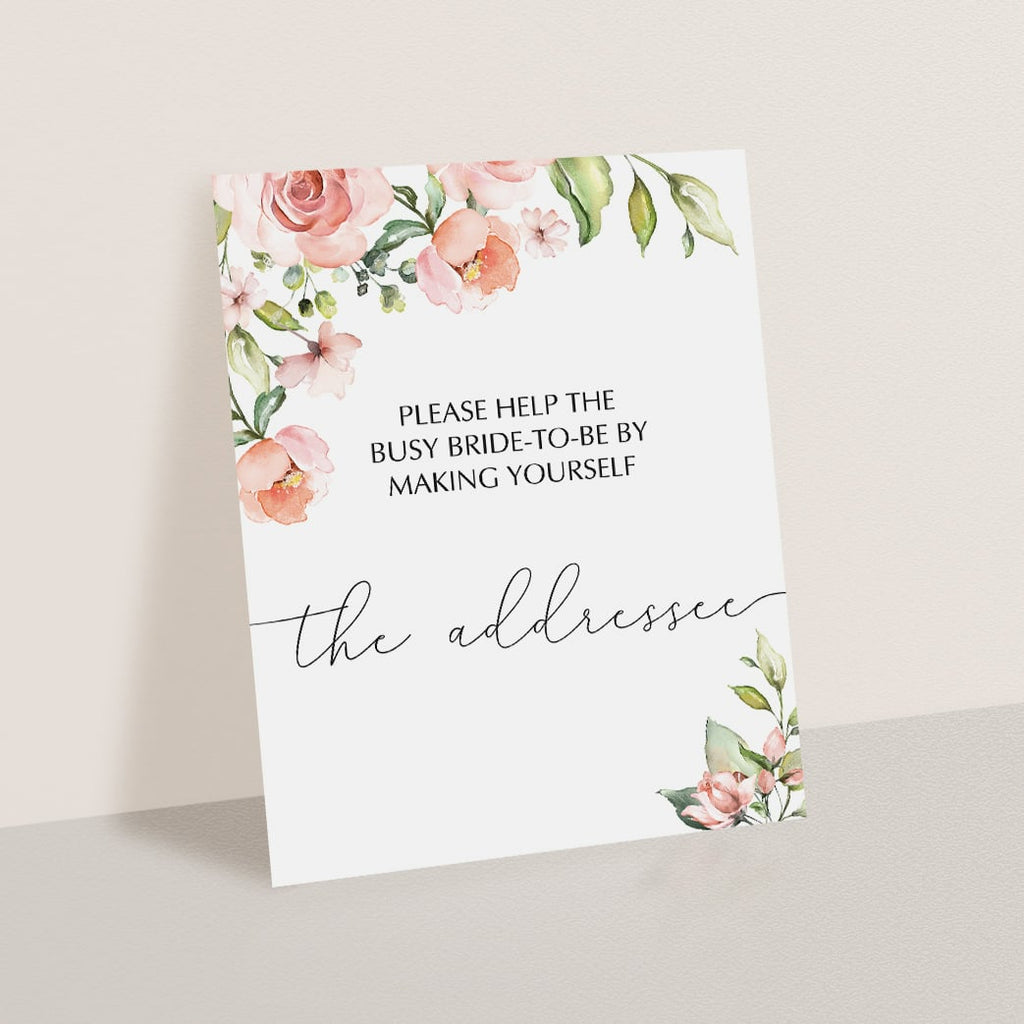 Bridal Shower Addressee Card Sign with Blush Flowers