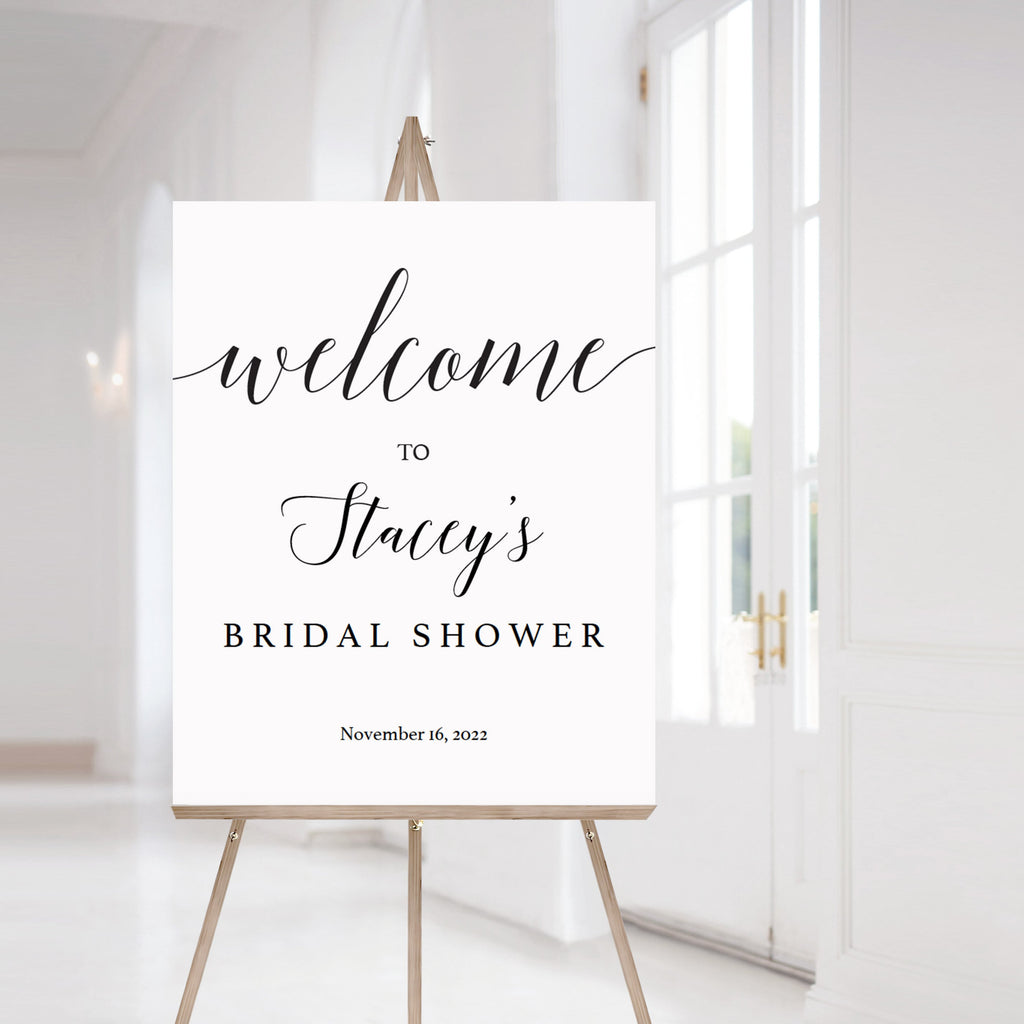 Black and white bridal shower welcome sign by LittleSizzle