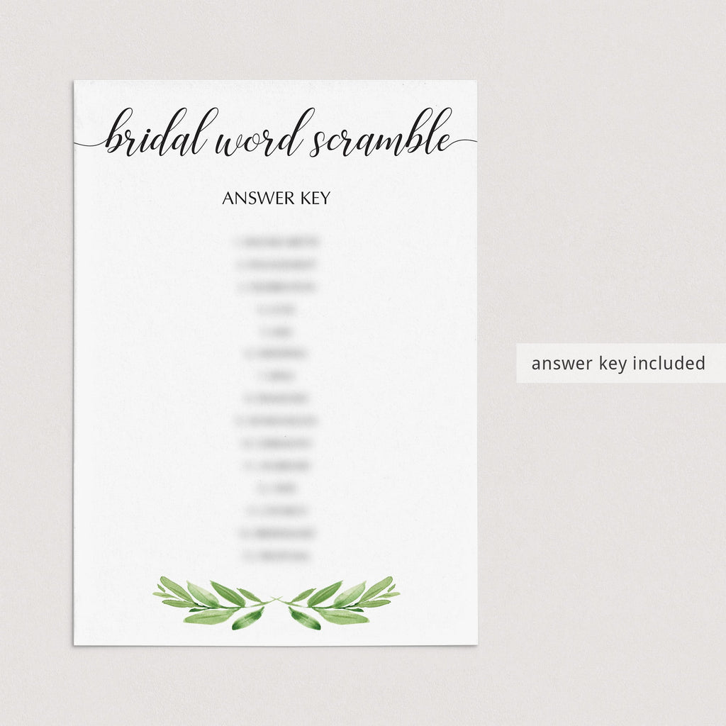 greenery bridal shower games printables