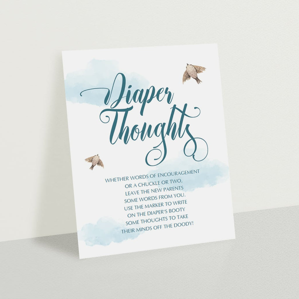 Diaper thoughts template for boy shower PDF download by LittleSizzle