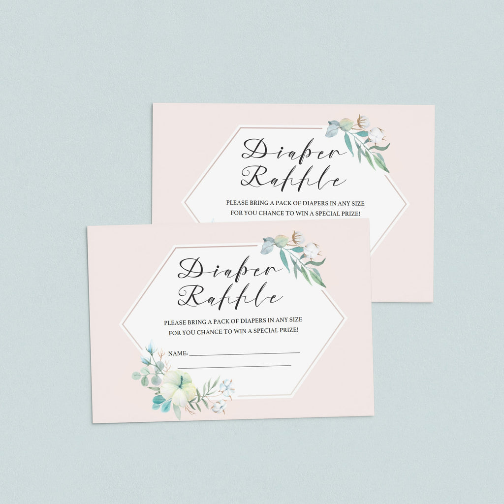 Printable Diaper Raffle Ticket Blush Floral