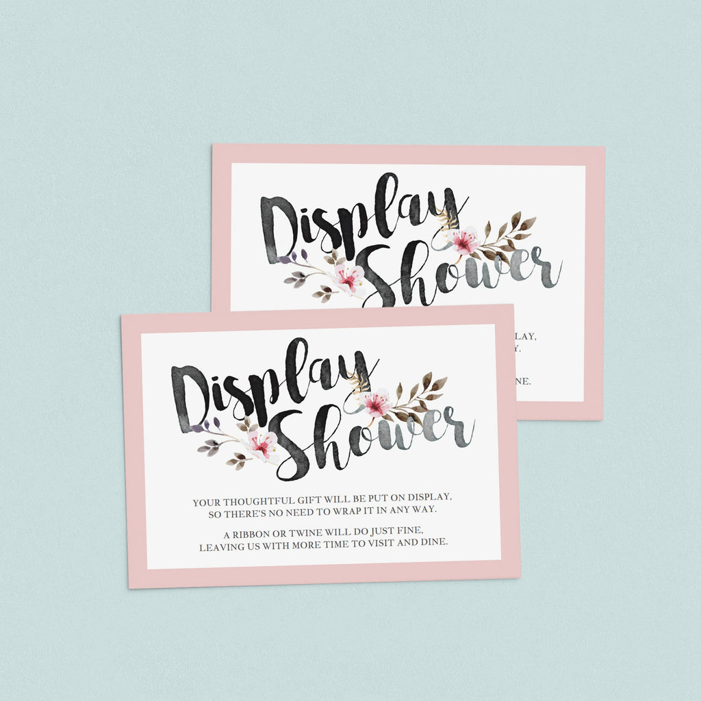 Display Shower Insert Card Pink Floral