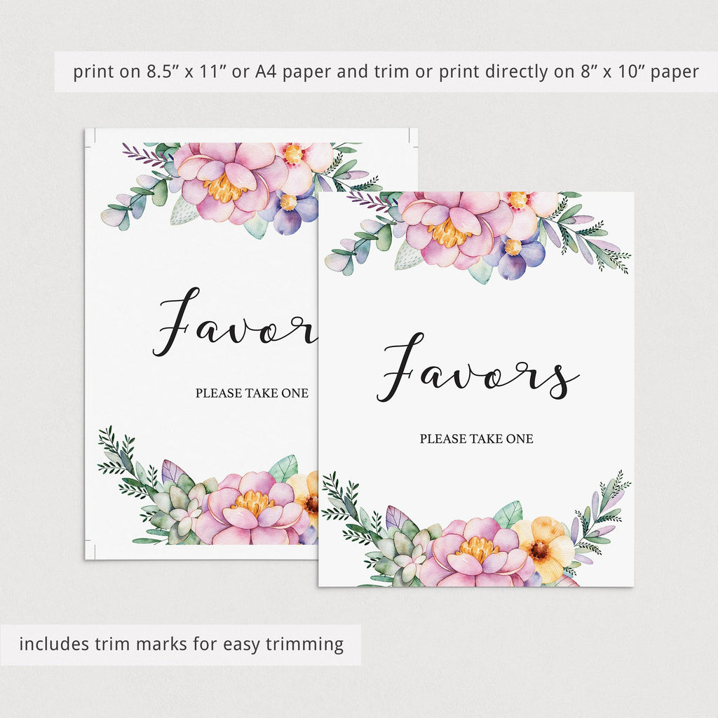 Favors sign for floral themed shower download by LittleSizzle