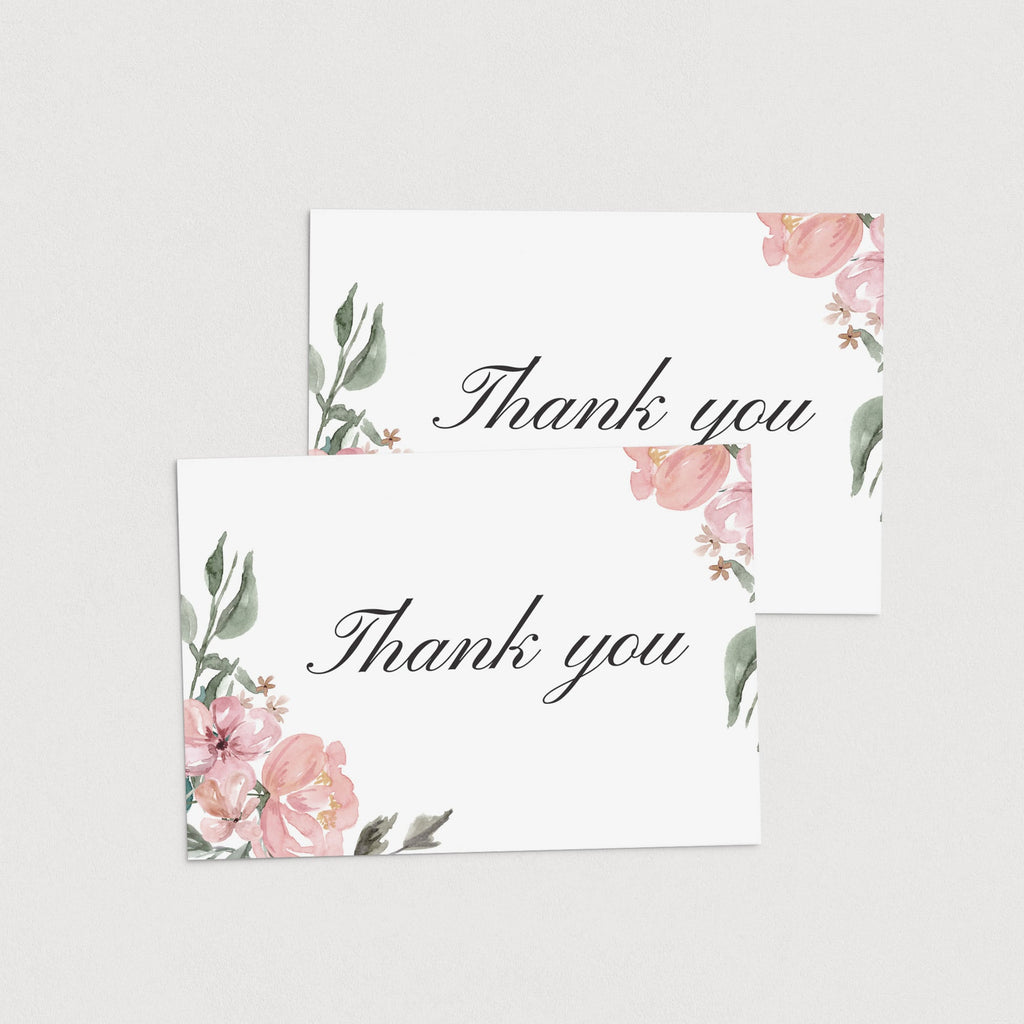 Green and pink flowers thank you cards printable by LittleSizzle