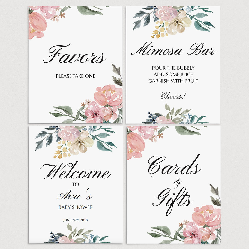 Floral watercolor shower decor package printable by LittleSizzle