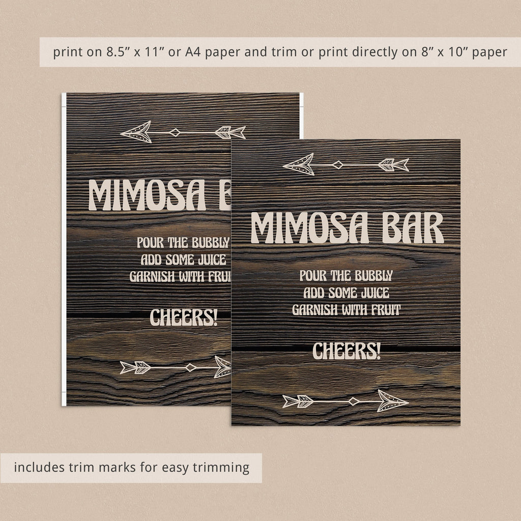 Printable mimosa bar sign with dark wood background by LittleSizzle