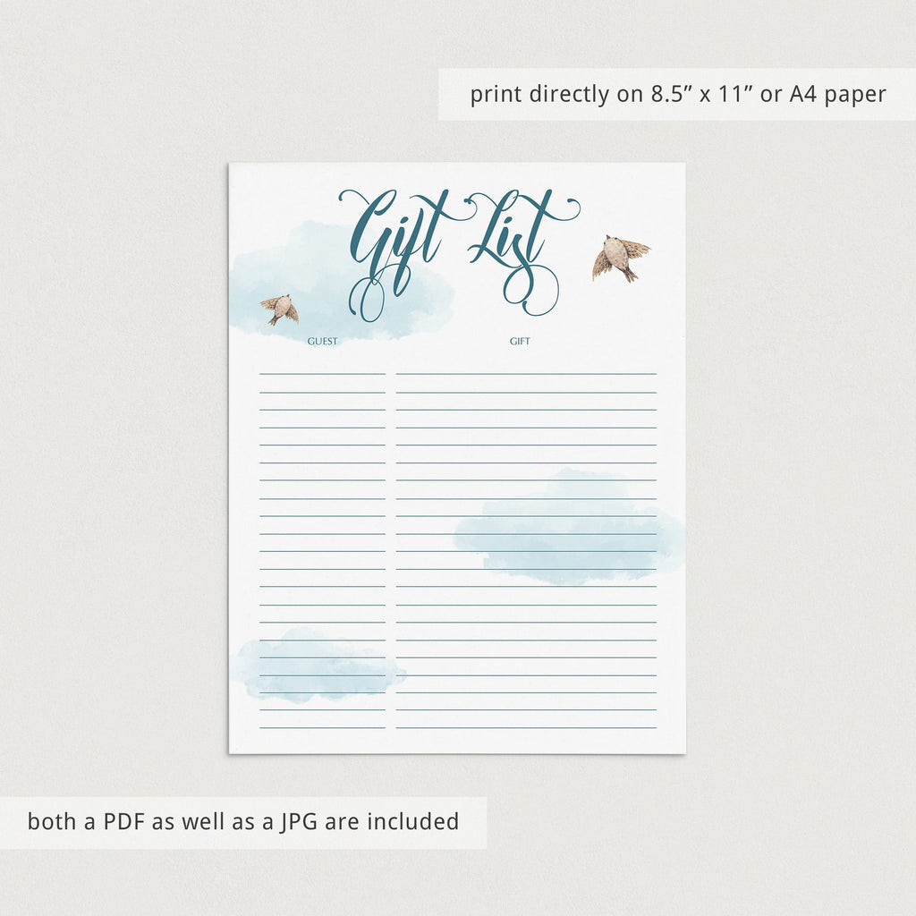 Up in the air printable gift list by LittleSizzle