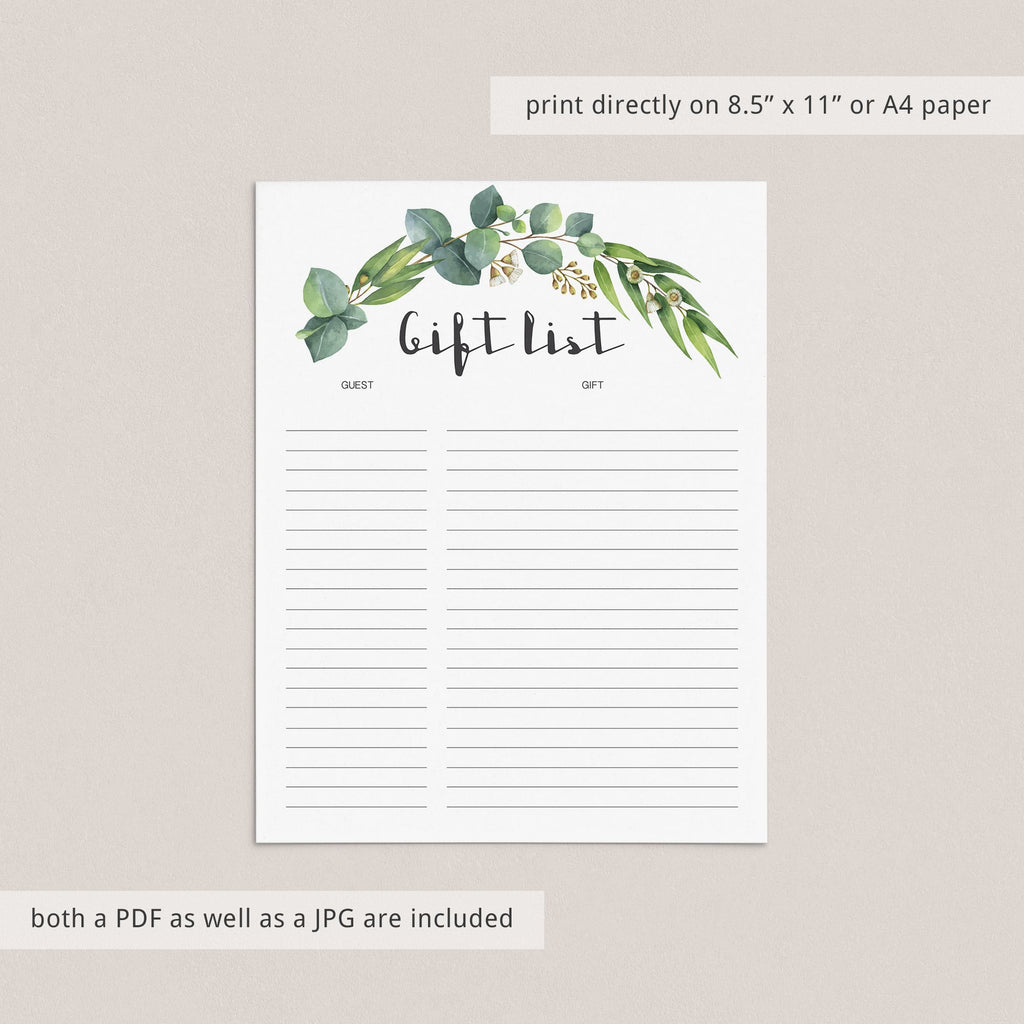 Instant download guest and gift checklist printable by LittleSizzle