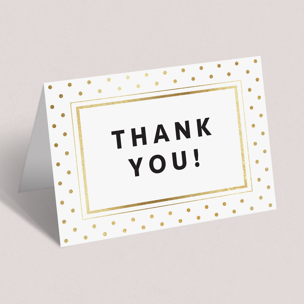 Printable gold polka dot thank you card for elegant party by LittleSizzle