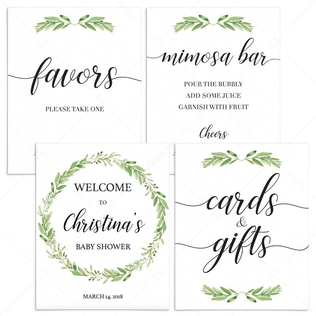 Printable greenery baby shower decor package by LittleSizzle