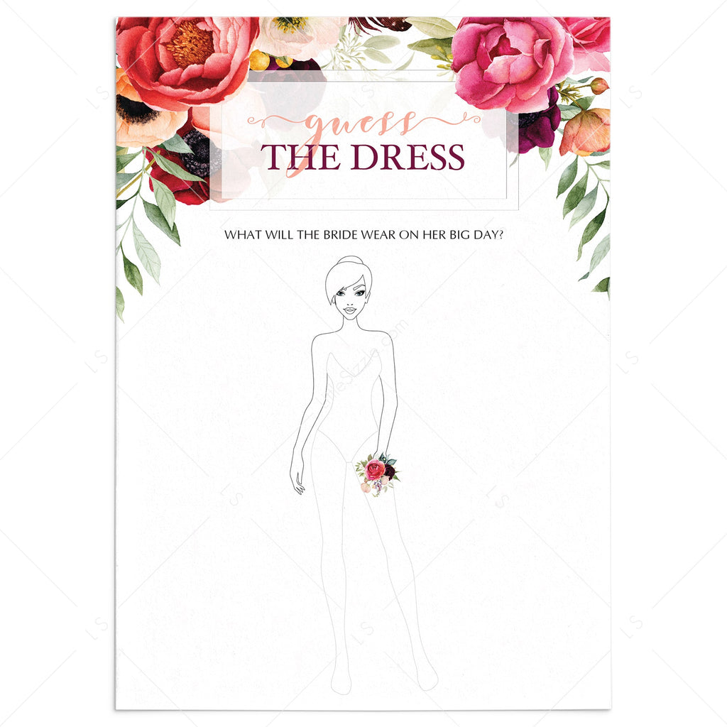 printable guess the dress boho themed cards by LittleSizzle
