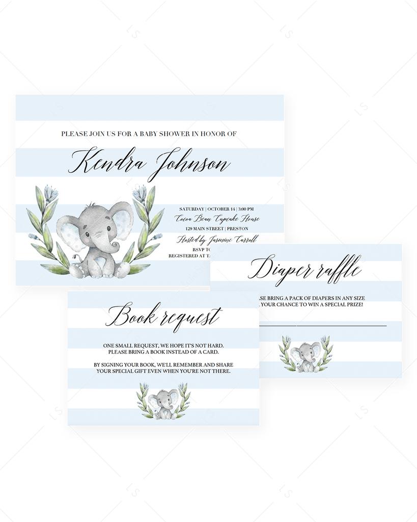 Elephant themed Baby Shower Invitation Templates for boy by LittleSizzle