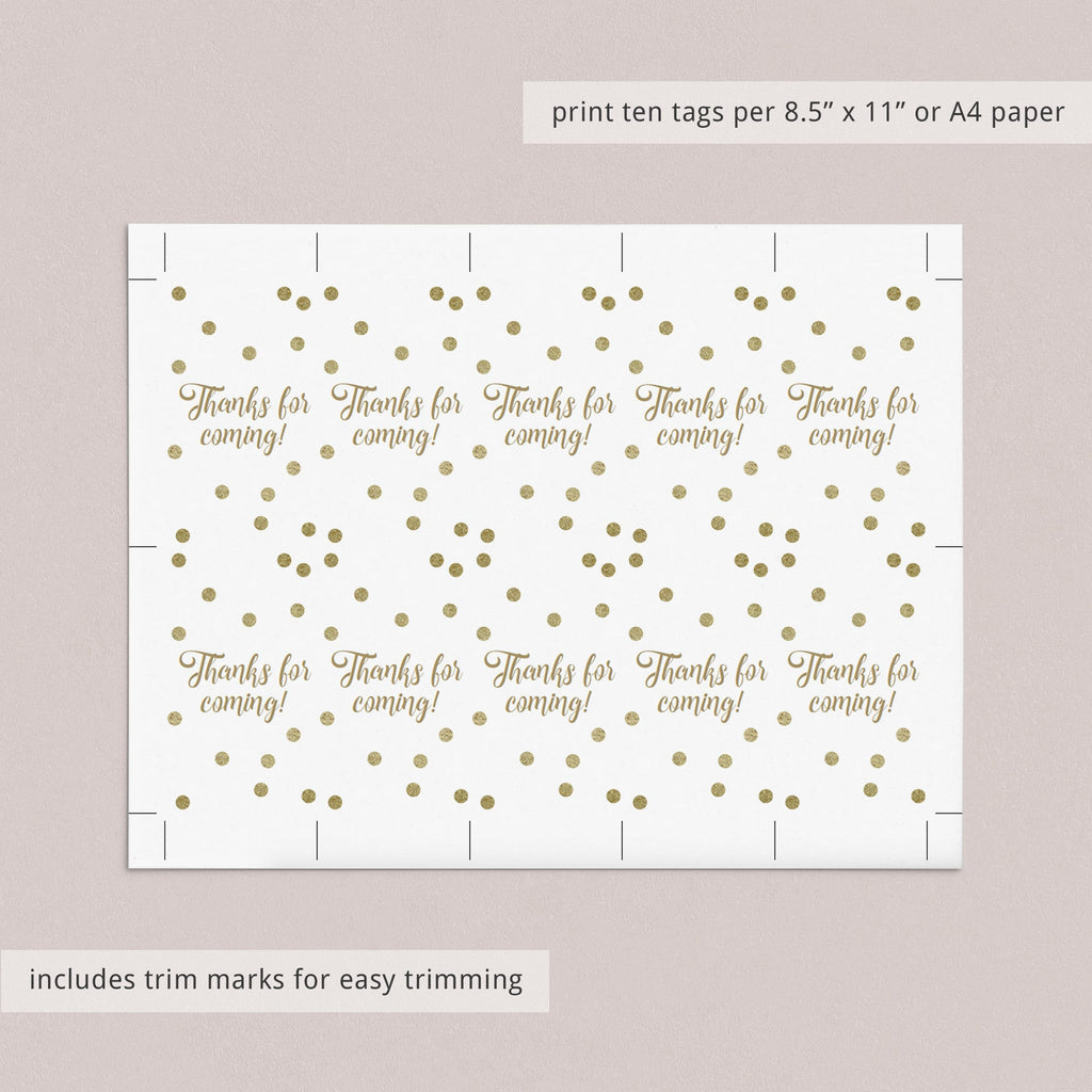 Gold Confetti Gift List, Cards and Labels