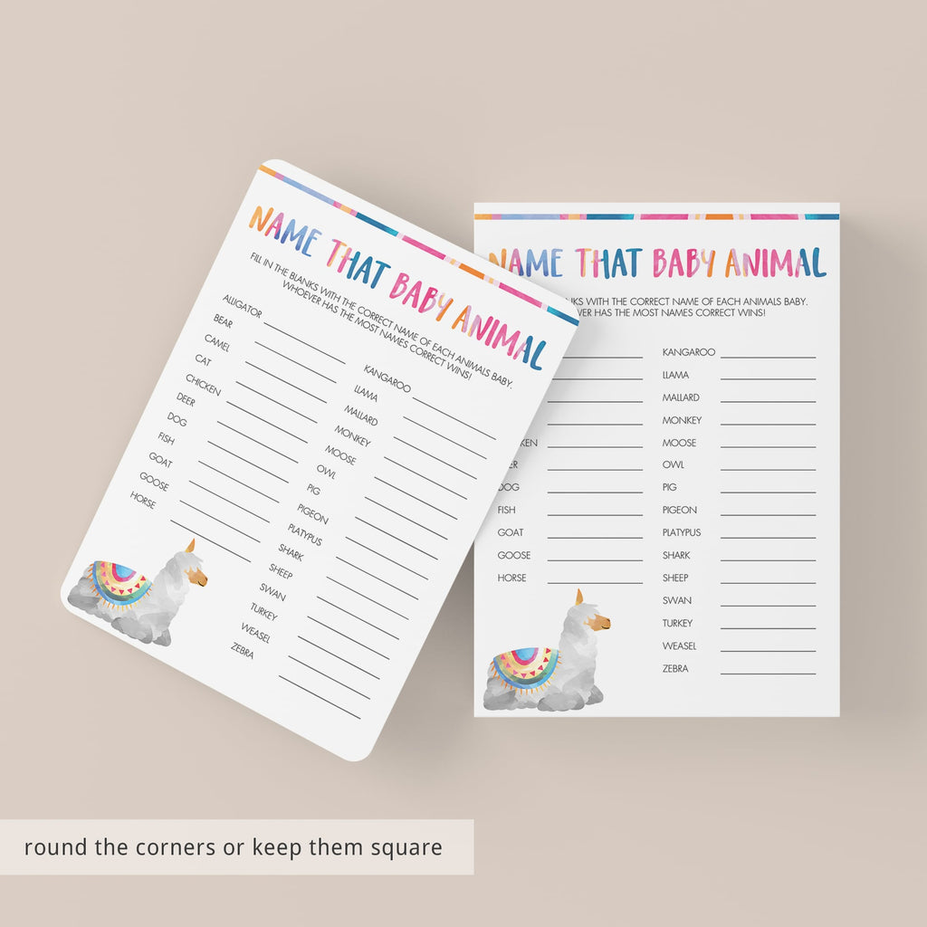 Llama baby shower quiz printable by LittleSizzle