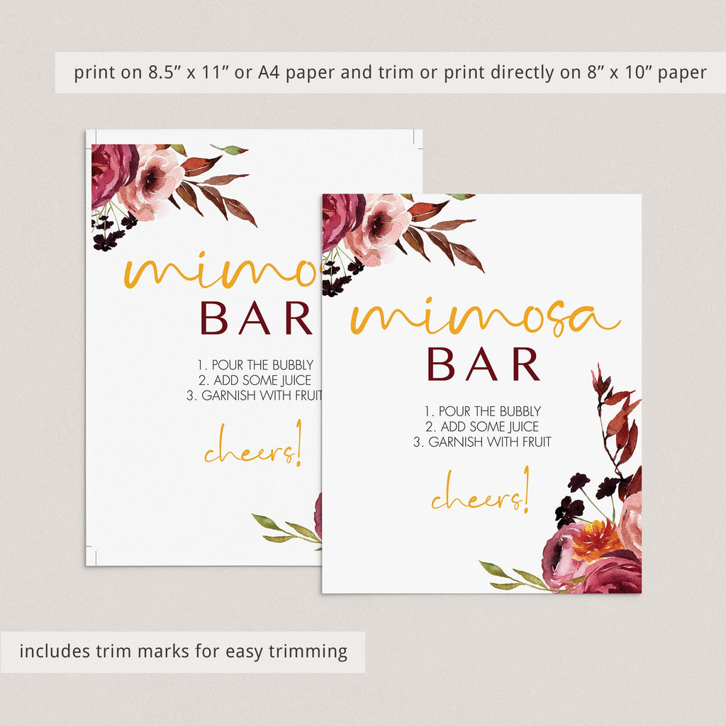 Instant download mimosa bar sign boho chic flowers by LittleSizzle