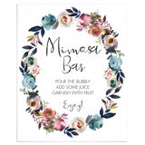 Floral wreath mimosa sign printable by LittleSizzle
