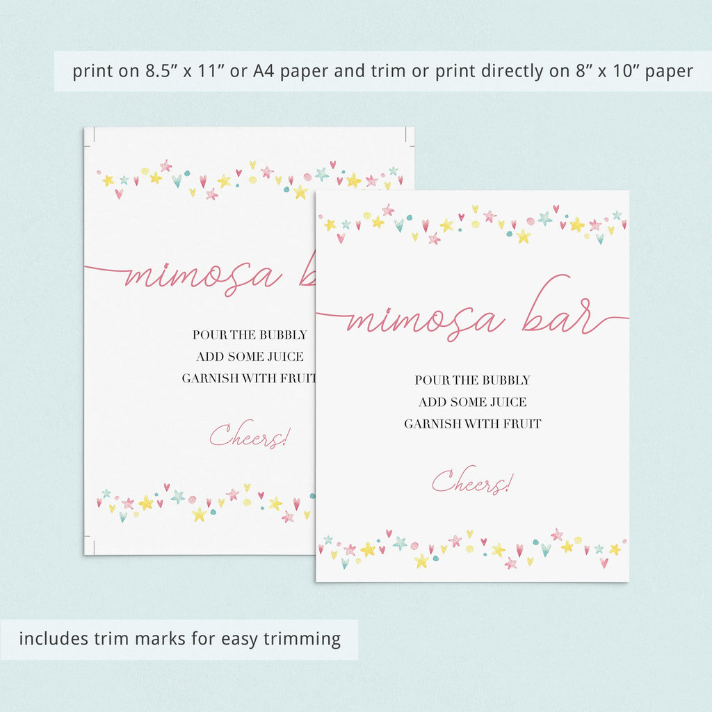 Printable Mimosa Bar Sign for Pink Shower