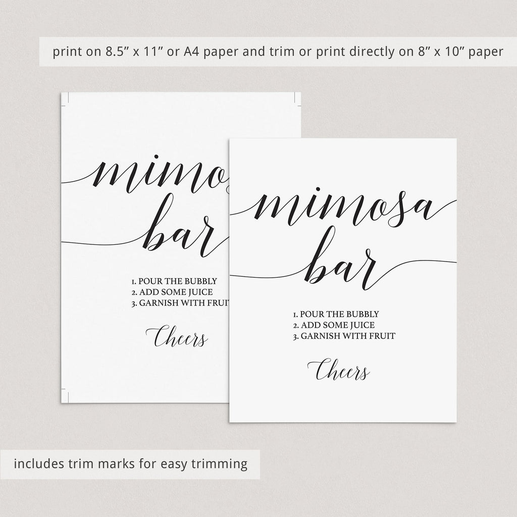 Elegant mimosa bar sign printable black and white by LittleSizzle