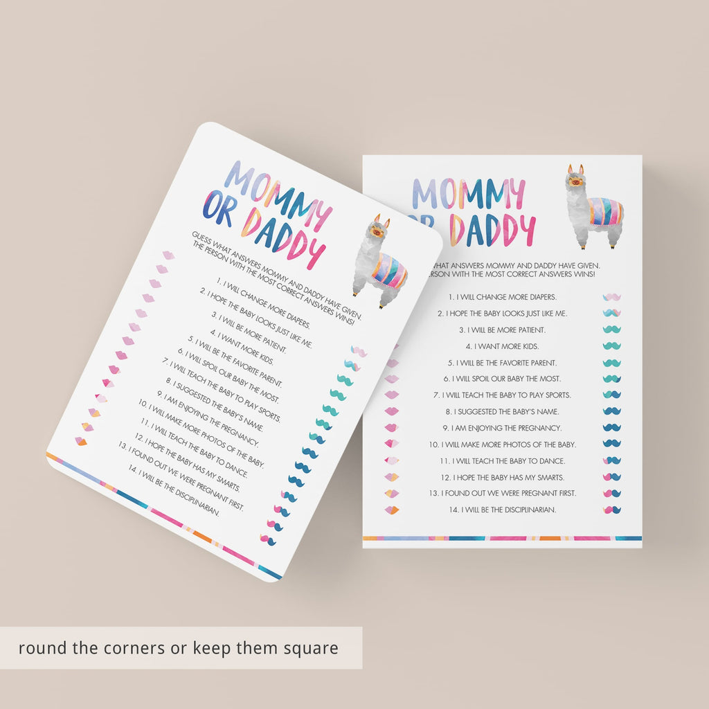 DIY baby shower games mommy or daddy instant download by LittleSizzle