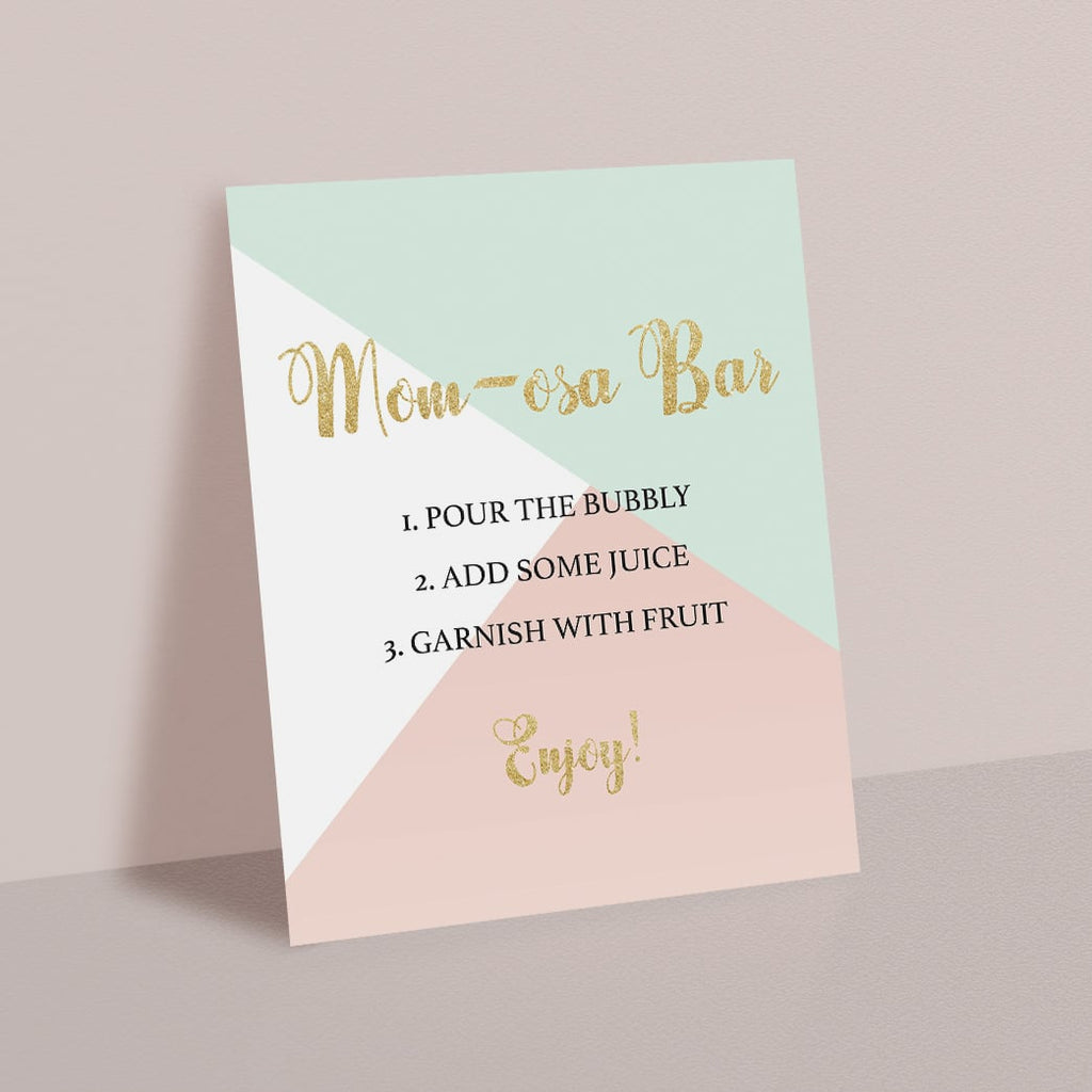 Pink mint and gold baby shower momosa bar sign by LittleSizzle