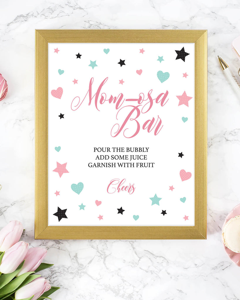 Momosa bar sign for girl baby shower download by LittleSizzle
