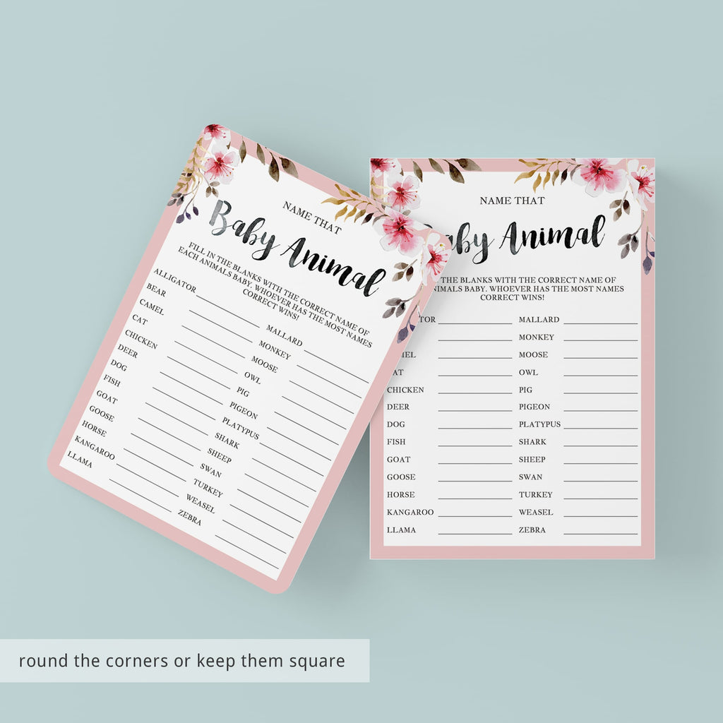 Blush Floral Baby Shower Game Name That Baby Animal