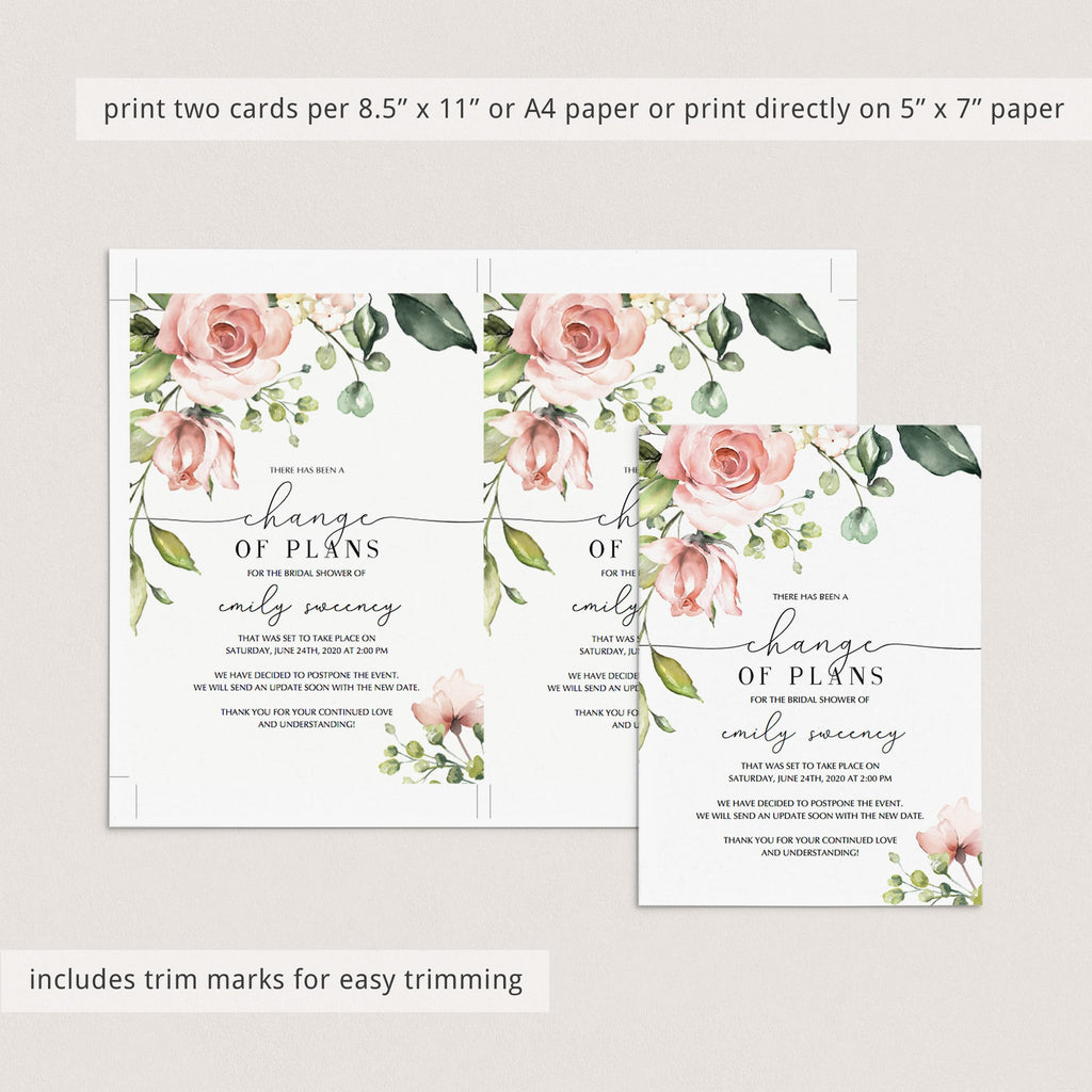 Editable cancellation cards floral event by LittleSizzle