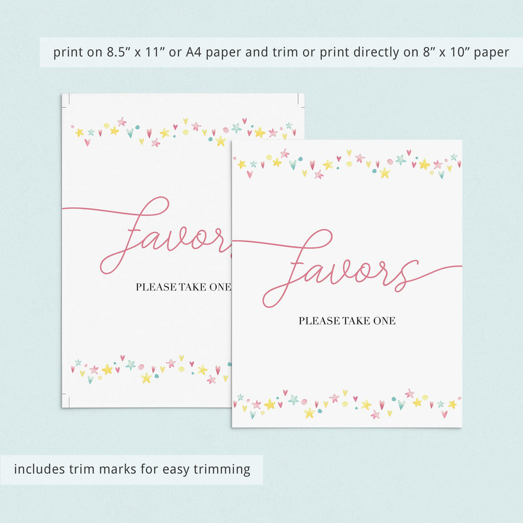 Instant download favors please take one table sign for girls by LittleSizzle
