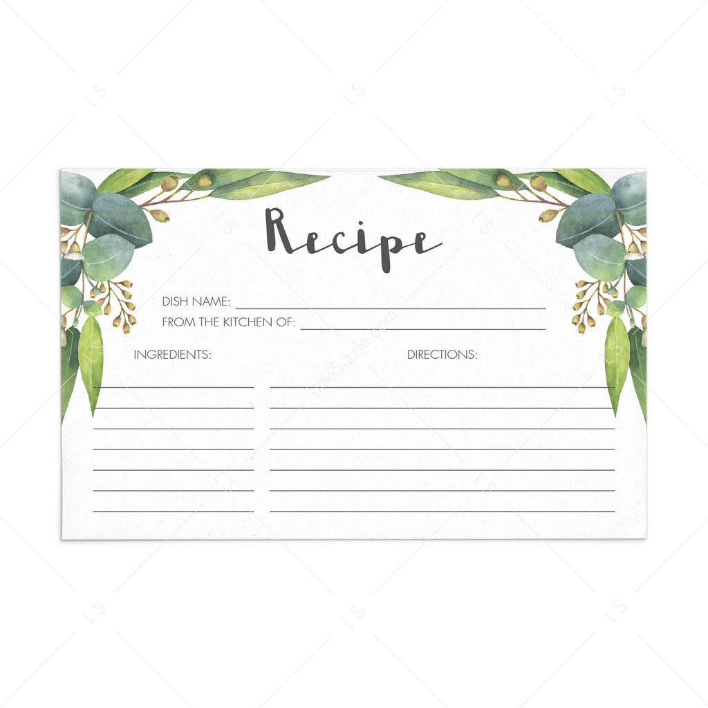 Eucalyptus Leaves Recipe Card Printable Instant Download Littlesizzle