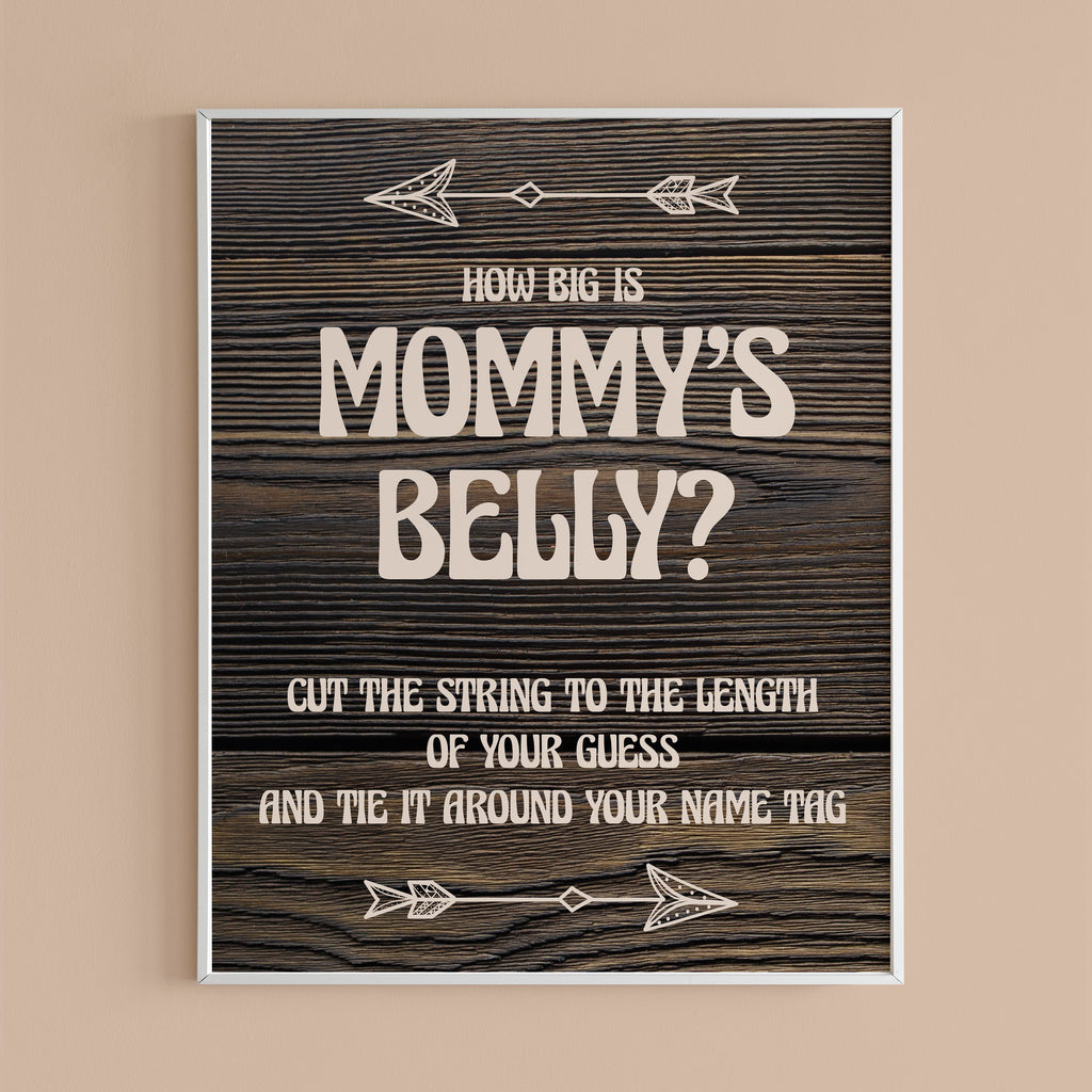 How big is mommy's belly baby shower game rustic theme by LittleSizzle