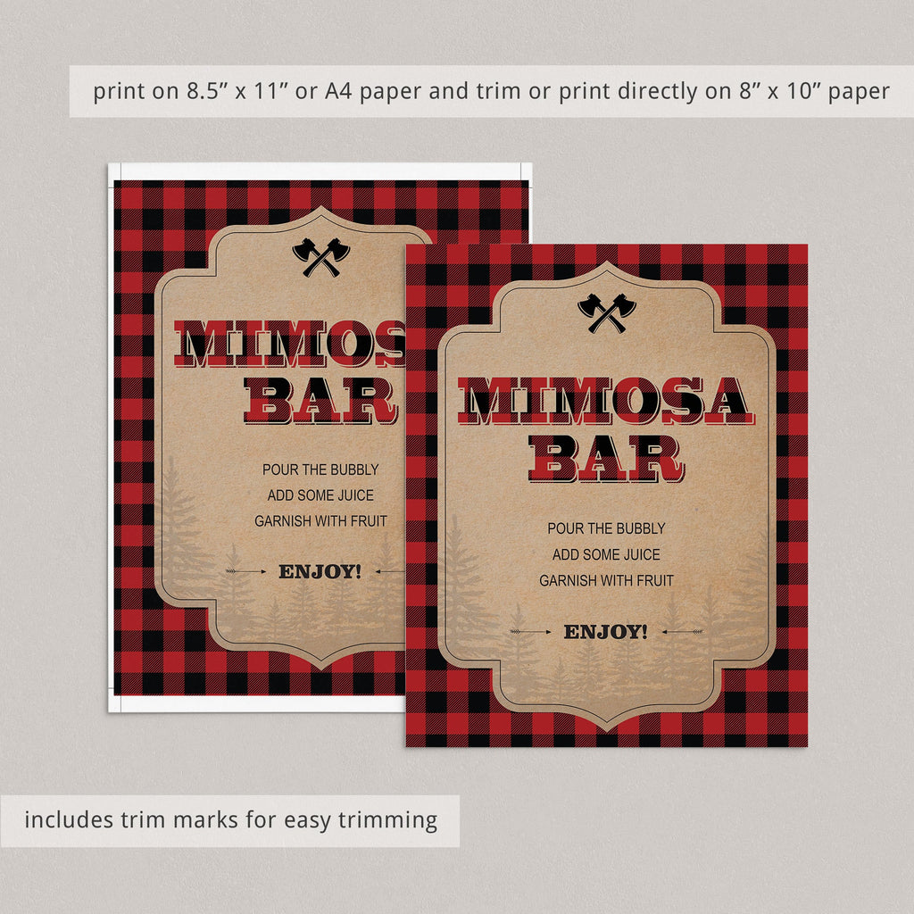 Mimosa table sign lumberjack party by LittleSizzle