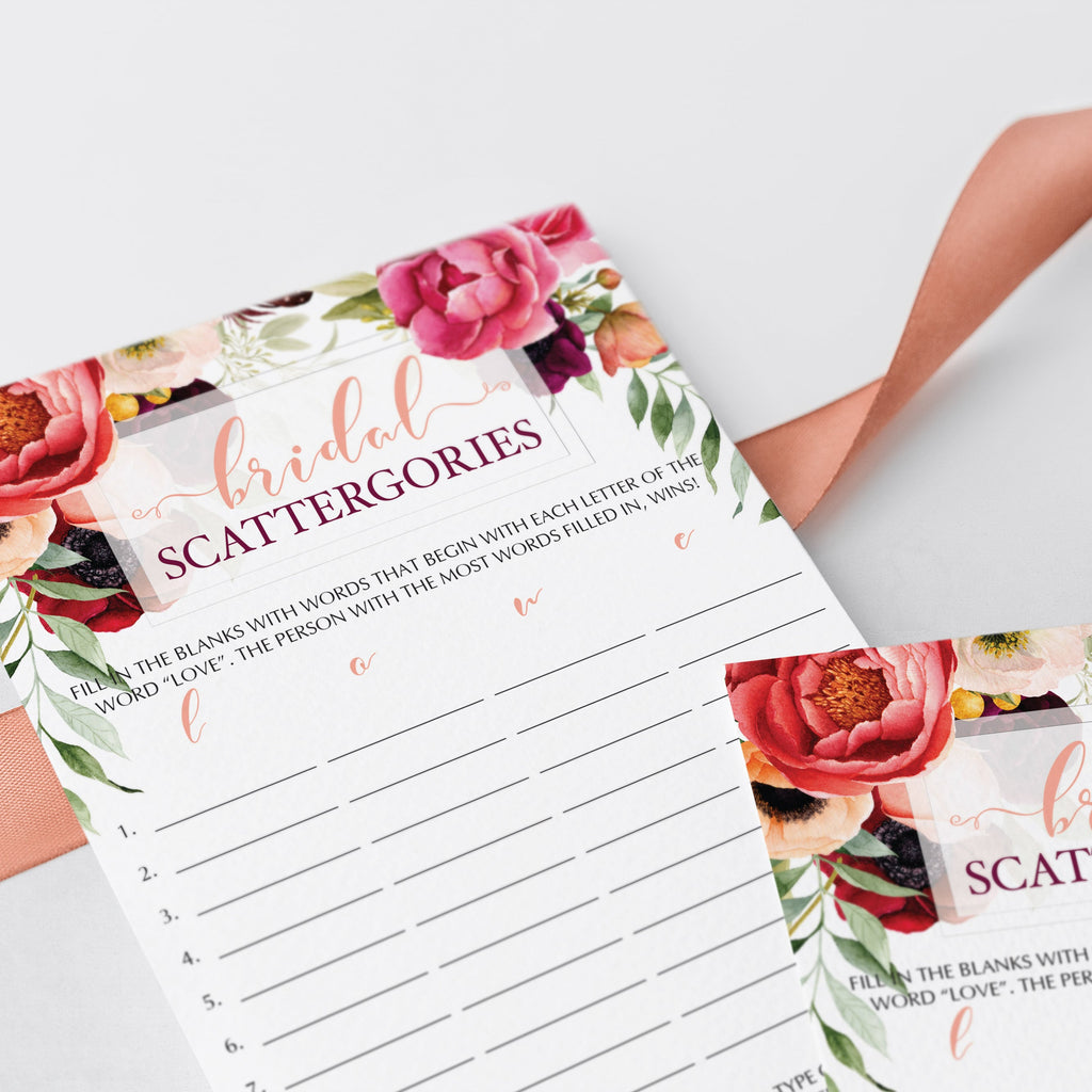 Wedding roses scattergories game instant download by LittleSizzle