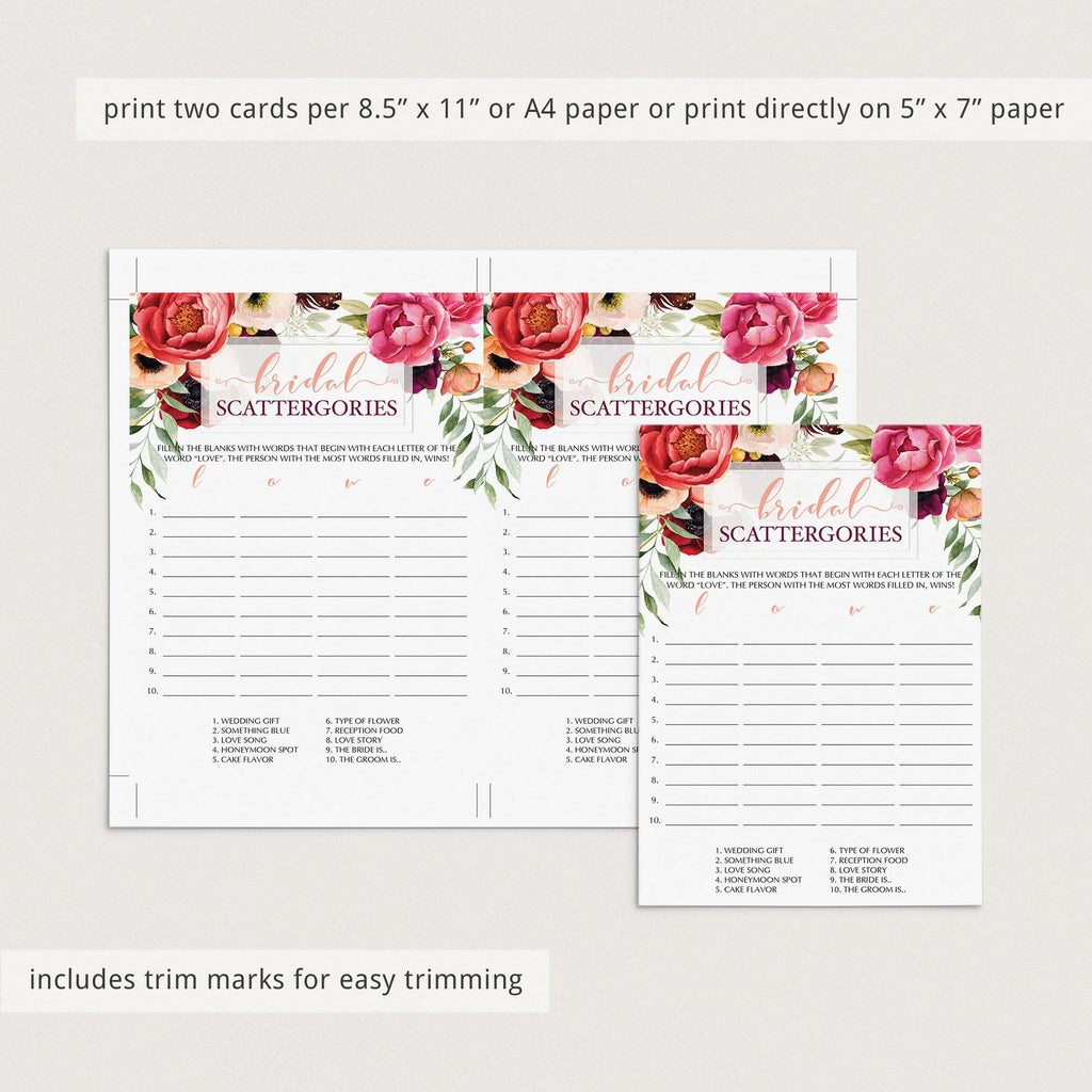 Instant download bridal shower game cards red roses by LittleSizzle