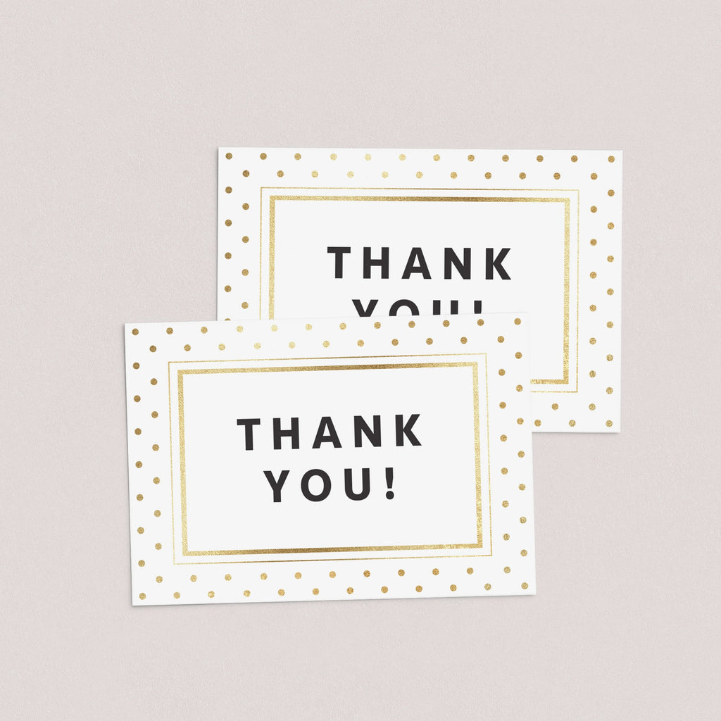 Printable Gold Glitter Thank You Card