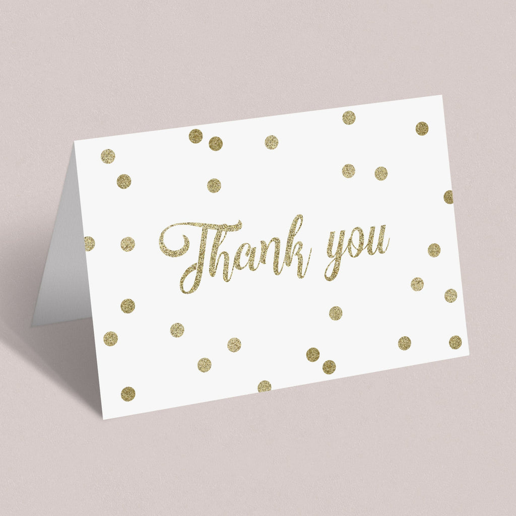Gold confetti thank you tent cards printable by LittleSizzle