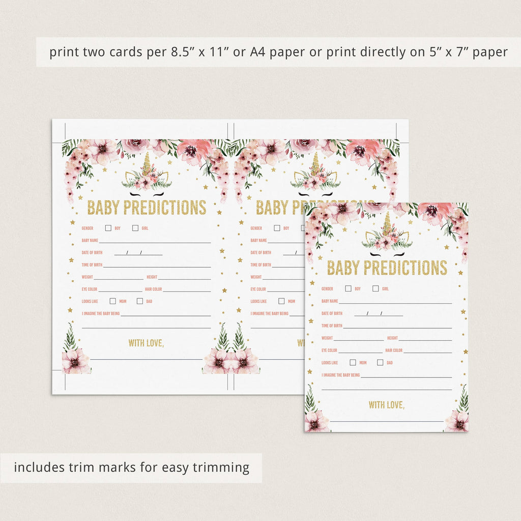 Printable Baby Shower Statistics Game Pink and Gold Unicorn