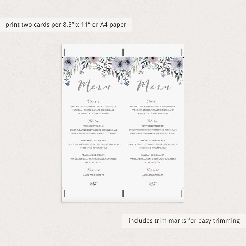Bridal shower menu card template by LittleSizzle
