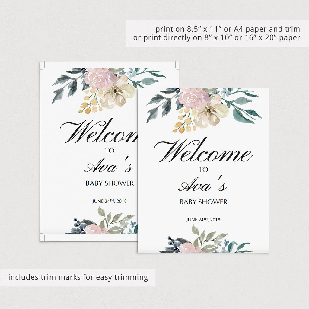 Welcome to shower template with watercolor flowers by LittleSizzle