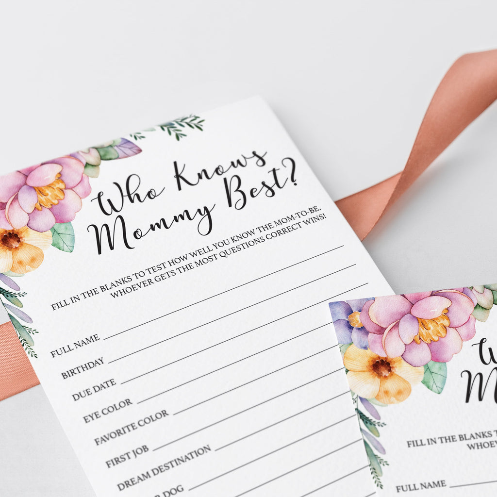 Who knows the mom to be best game for girl baby shower printable by LittleSizzle