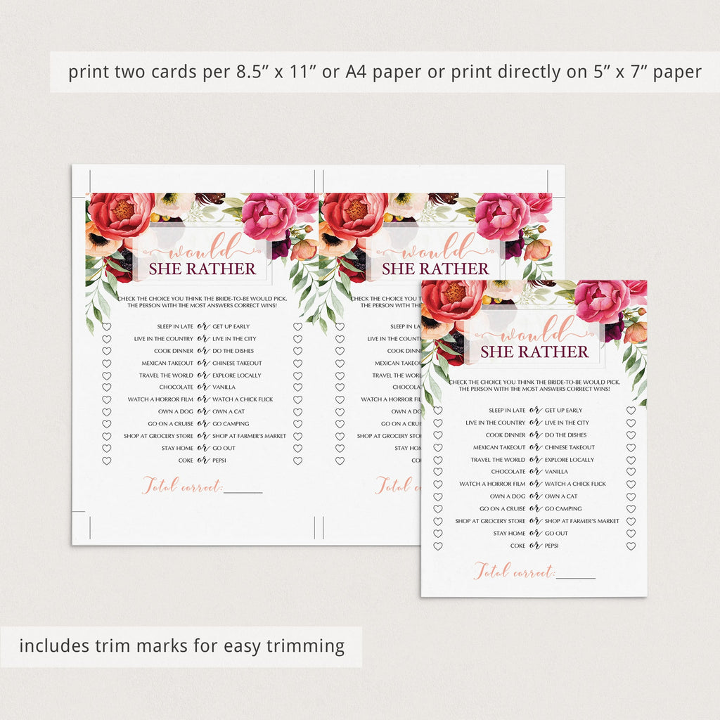 printable would she rather wedding shower game floral