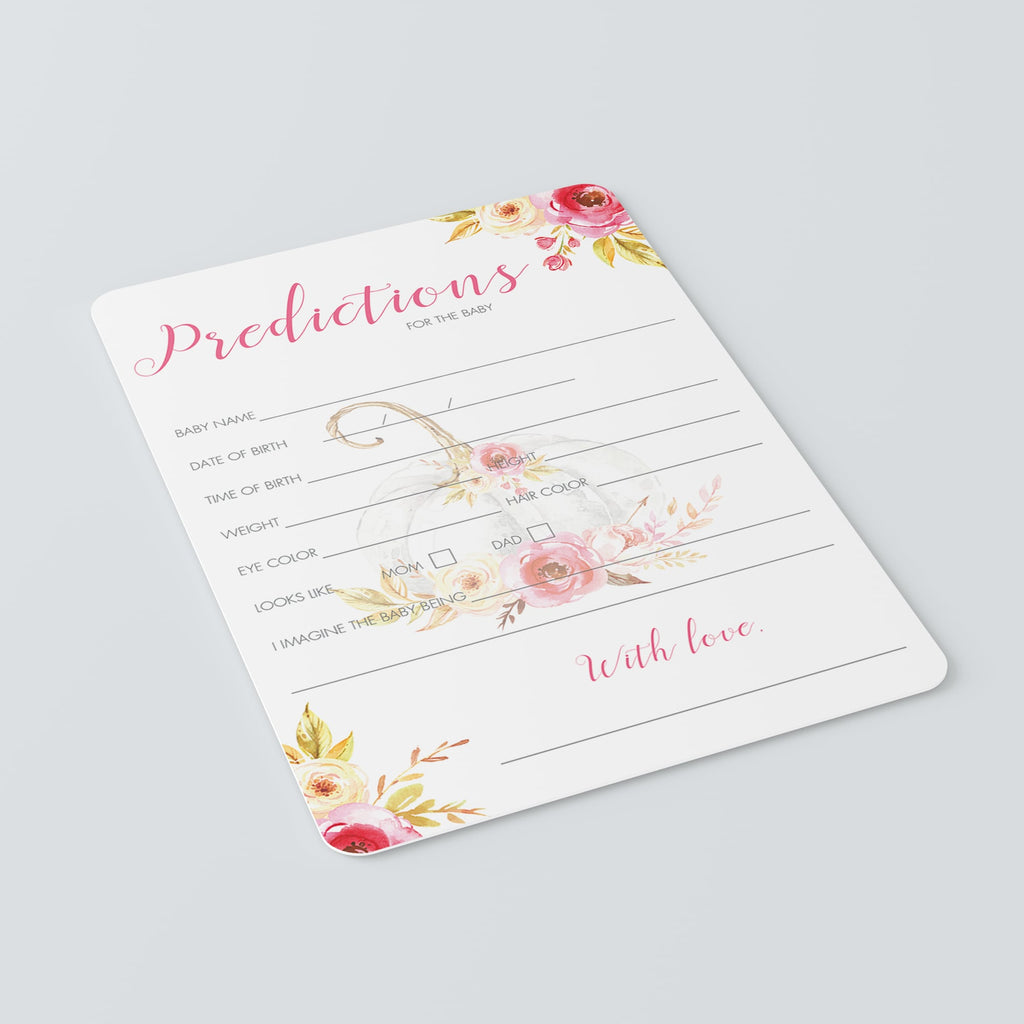 Floral Pumpkin Baby Shower Predictions Game Printable