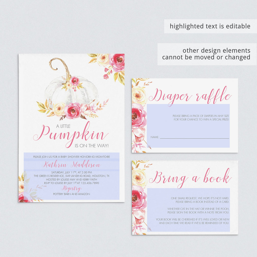 Pumpkin baby shower invitation set editable PDF templates by LittleSizzle