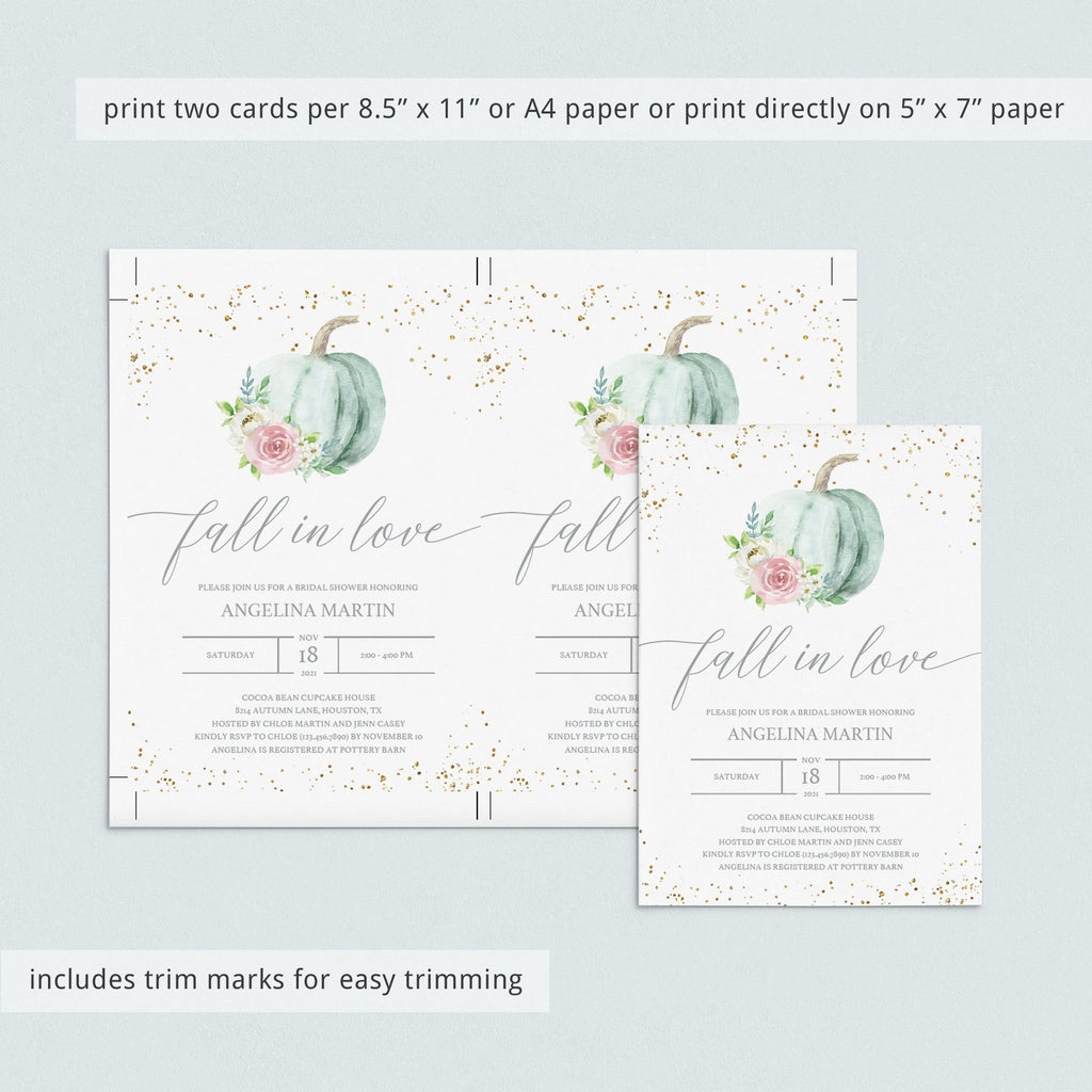 Floral pumpkin bridal shower invitation template by LittleSizzle