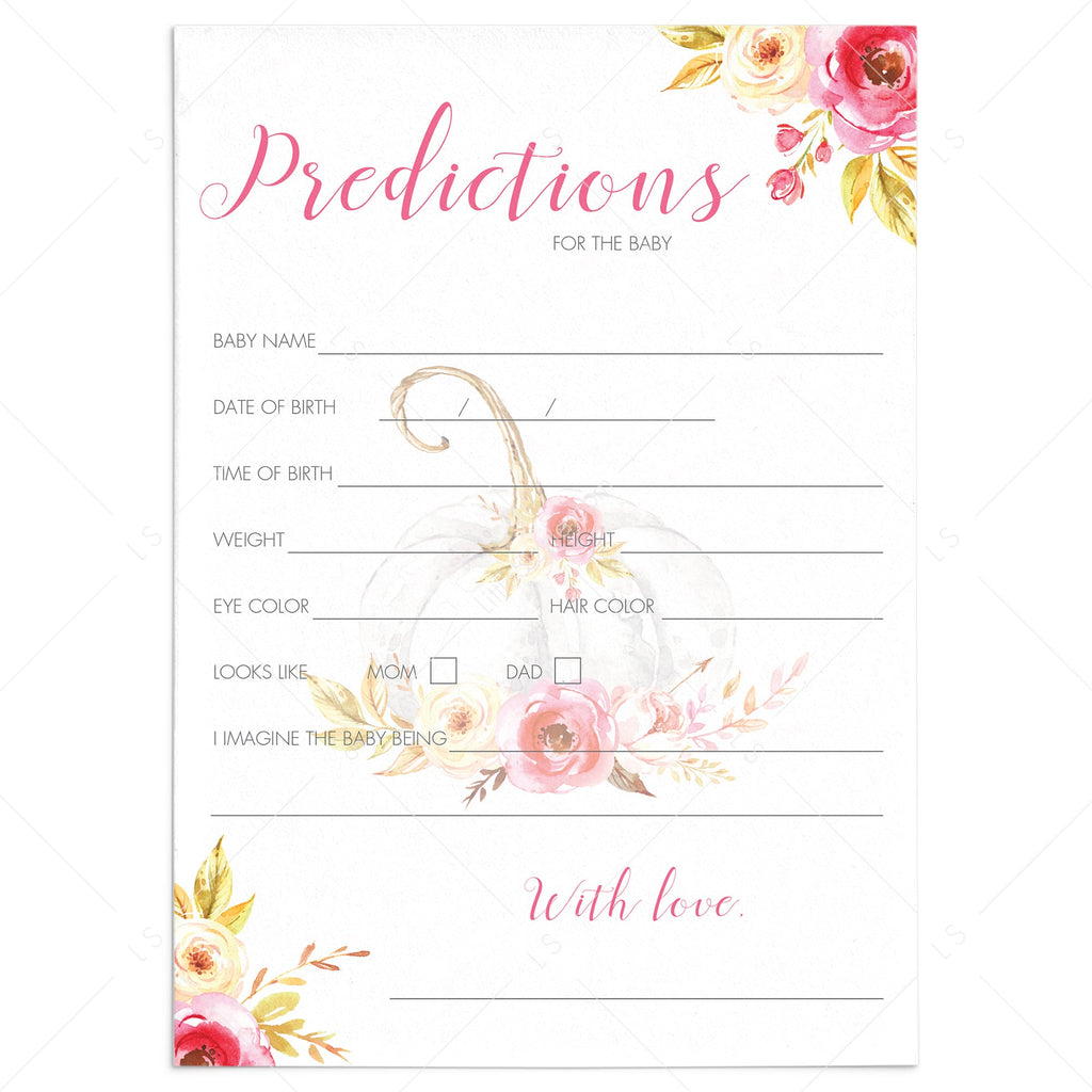 Floral pumpkin baby shower predictions game by LittleSizzle