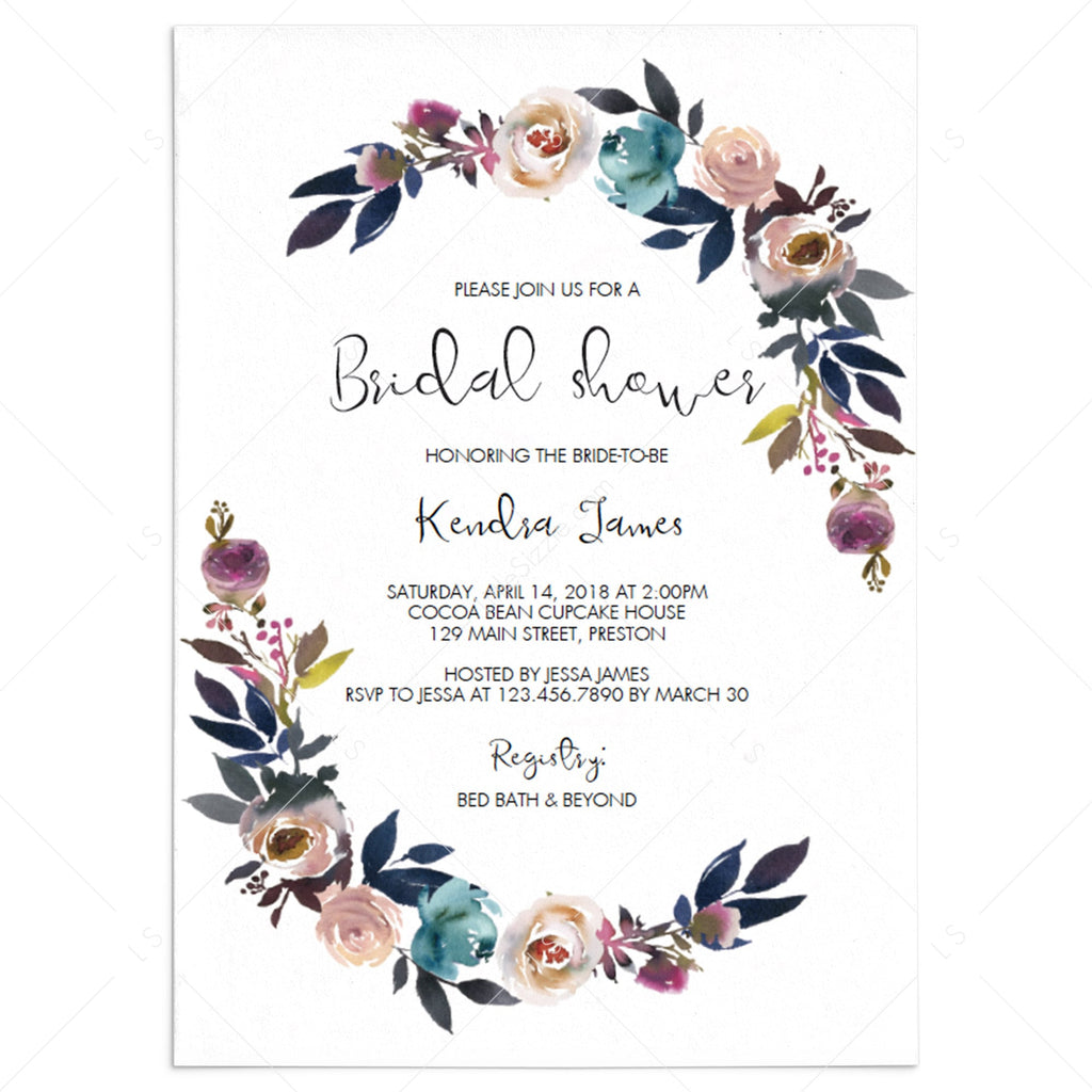 purple bridal shower invitation template download by LittleSizzle