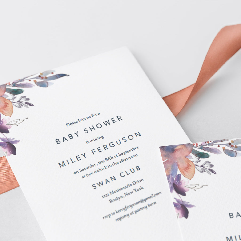 Watercolor floral baby invitation template download by LittleSizzle