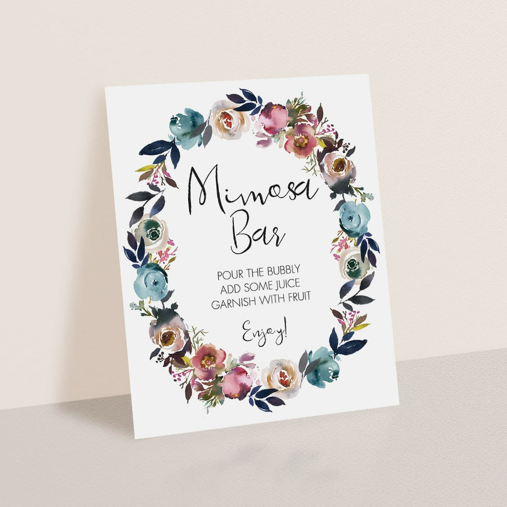 Printable Mimosa Sign for Boho Themed Shower