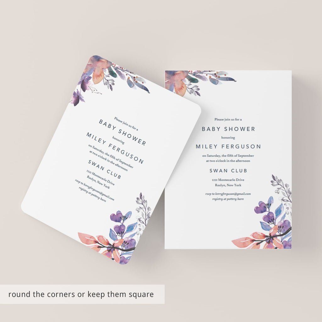 Purple Floral Baby Shower Invite DIY Template Download